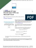 Calculando El Valor Presente Neto (VPN) Con Microsoft Excel