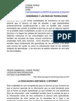 MODALIDADES DE ENSEÑANZA Y LAS NUEVAS TECNOLOGIAS
