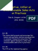 Deceptive, Unfair or Unconscionable Sales Acts Or