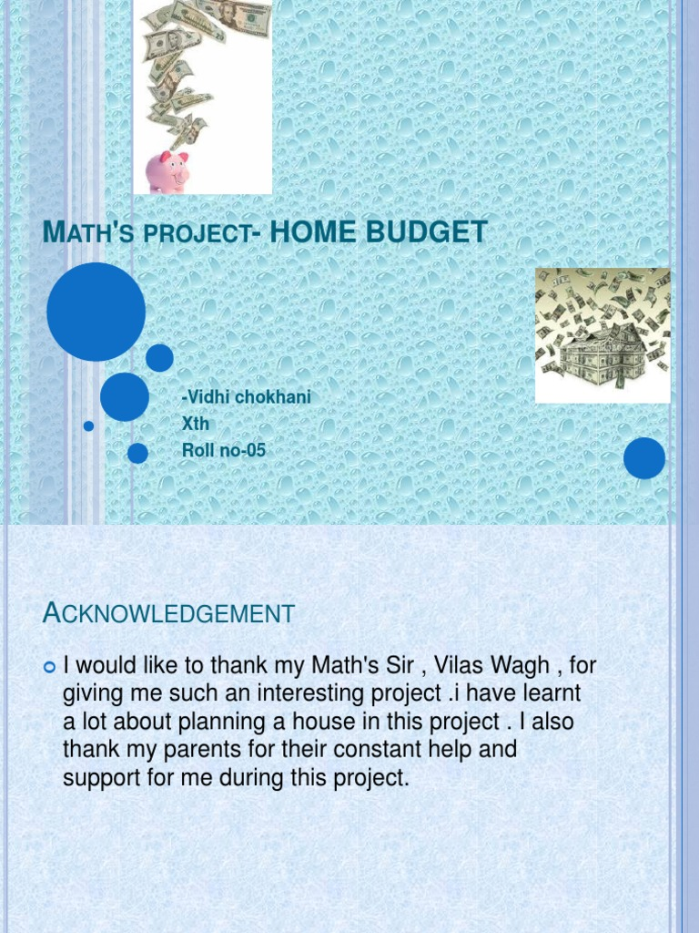 Maths Project On Home Budget Budget Budgets And Budgeting