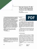 Parnas Criteria for Decomposing Systems