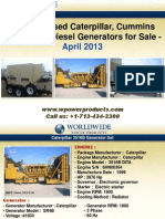 New and Used Caterpillar, Cummins and Kohler Diesel Generators for Sale - April 2013