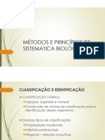 MÉTODOS E PRINCÍPIOS DE SISTEMÁTICA BIOLÓGICA