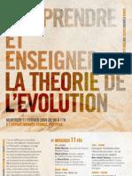 Comprendre et enseigner la théorie de l'évolution, 11 février 2009, Poitiers