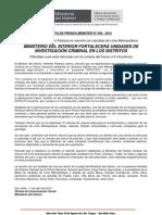 11.04.13. NOTA DE PRENSA MININTER N° 048 - 2013 MINISTERIO DEL INTERIOR FORTALECERÁ UNIDADES DE INVESTIGACIÓN CRIMINAL EN LOS DISTRITOS