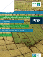 Land Tenure & International  Investment in Agriculture