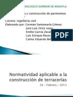Normatividad aplicable a la construcción de terracerías