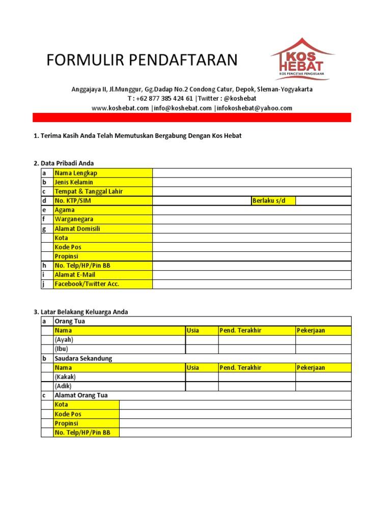 Formulir Pendaftaran Kos Hebat