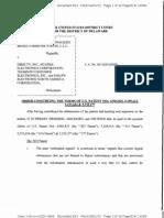 Pegasus Dev. Corp. v. DirecTV, Inc., C.A. No. 00-1020-GMS, Order (D. Del. Apr. 1, 2013).
