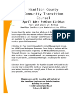 Hamilton County Community Transition CounselApril 18th 9:00am-11:00amor Apirl 18, 20 13.