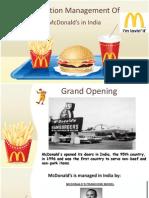 Opération Management Of MacDonalds