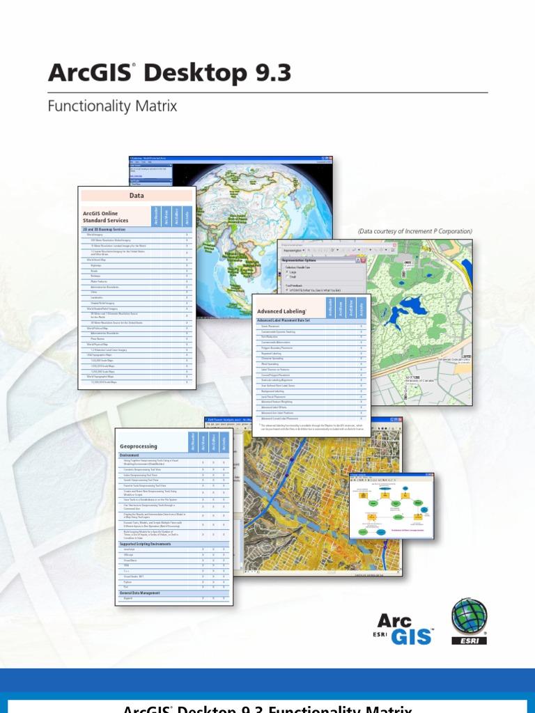 Arcgis93 Functionality Matrix | Arc Gis | Geographic