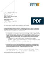 Minnesotans United letter to Gov. Mark Dayton