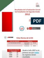 Resultados de La ECE 2012