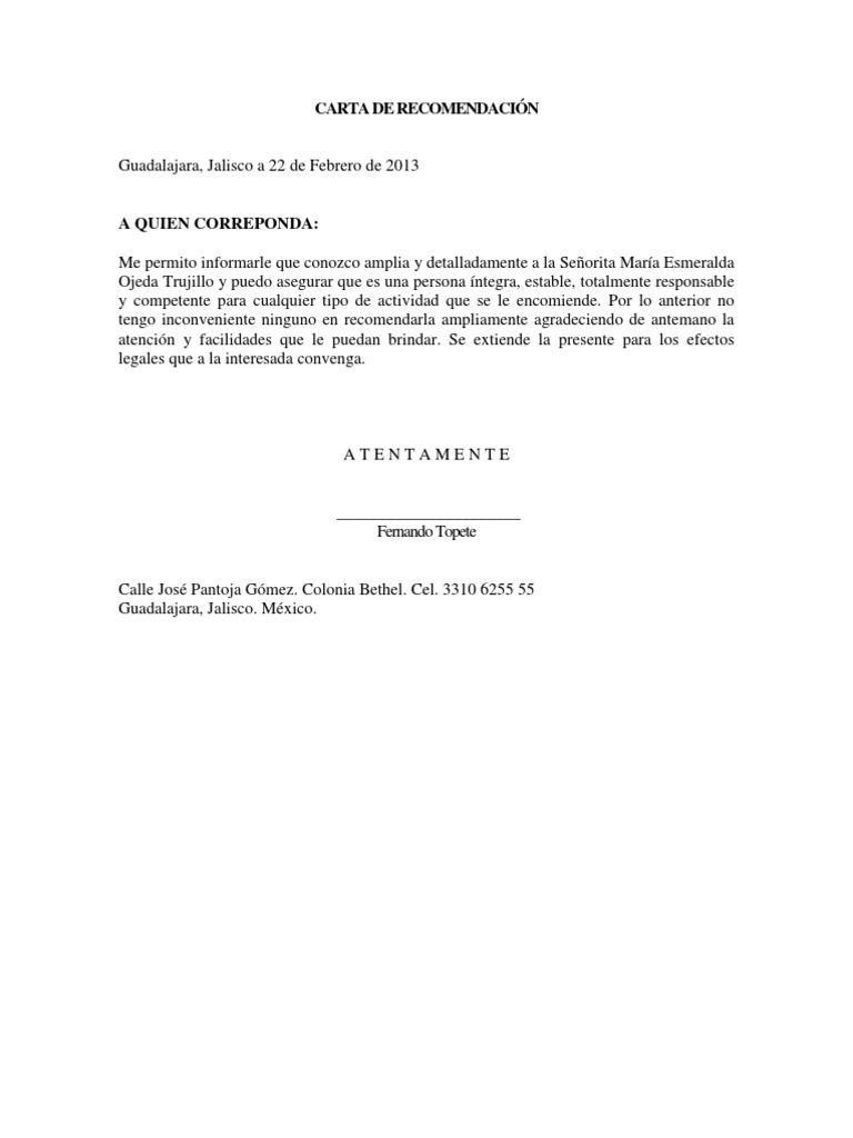 formato de carta de recomendacindocx