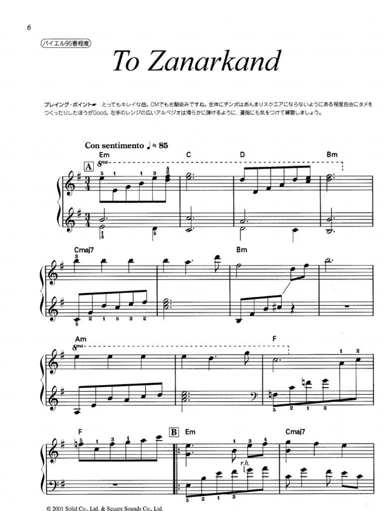 Partition piano zanarkand