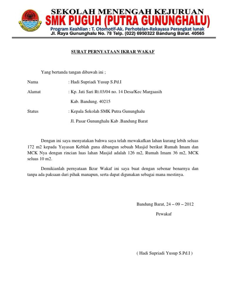 Surat Pernyataan Ikrar Wakaf