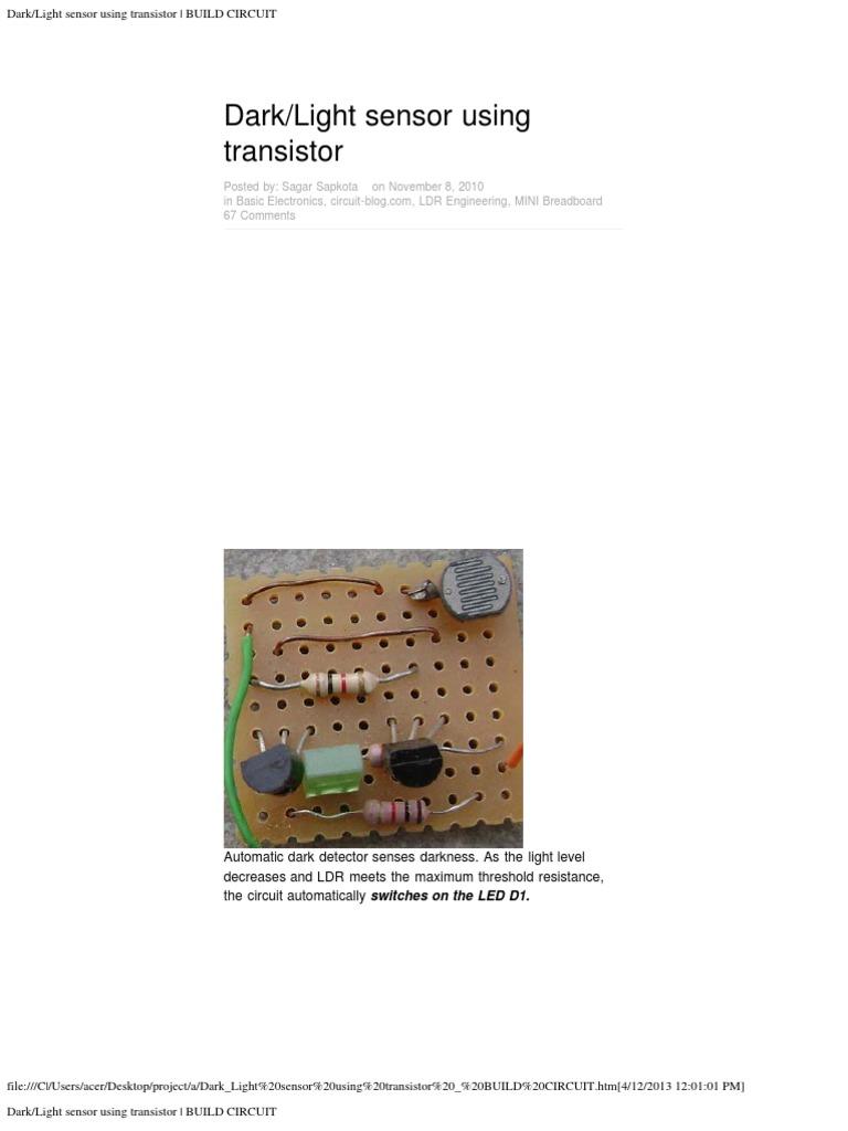 Dark Light Sensor Using Transistor Build Circuit Clap Switch