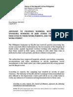 PR-049-2013 Advisory Implementation of Saudi Labor Law Amendments