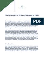 the fellowship of st luke statement of faith