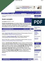 eMedicine - Acute Laryngitis _ Article by Rahul K Shah, MD