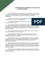 Reaction Paper Regarding the Proposed k12 Education