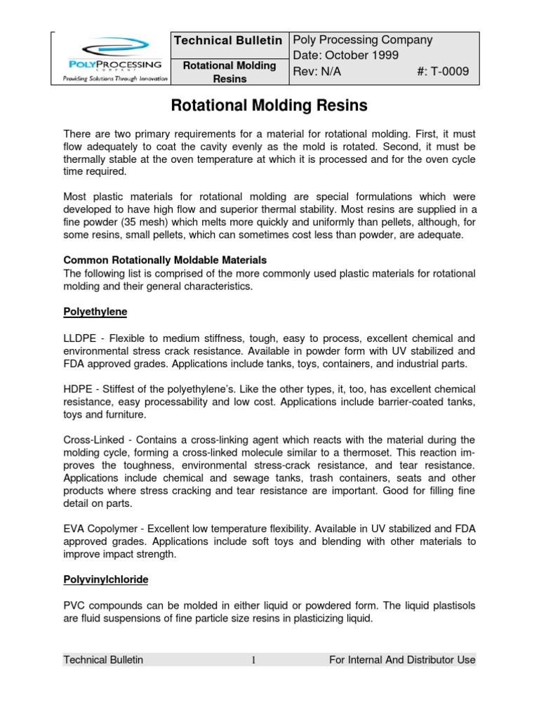 Rotational Molding Resins | Polyethylene | Plastic
