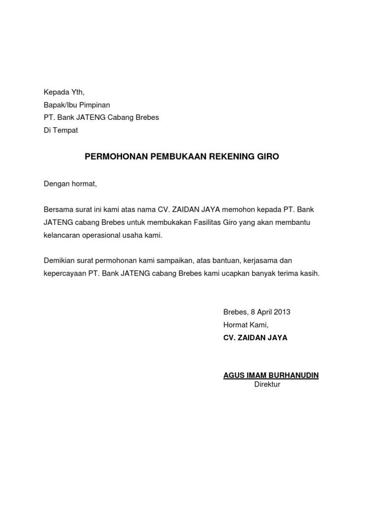 Contoh Surat Contoh Surat Kuasa Pembukaan Rekening Bank Bni