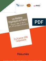 Seminaire Les matières organiques en France Etat de l'art et prospectives