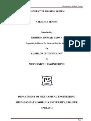Project Report on Regenerative Braking System | Brake | Vehicles
