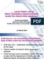 Proposal for HIQA's role as Ethics Committees Supervisory Body (under the clinical trials legislation)