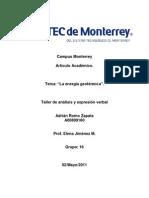 La Energía Geotérmica (Artículo Académico)