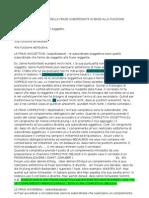 La Classificazione Della Frase Subordinata in Base Alla Funzione Sintattica