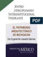 EL PATRIMONIO ARQUITECTÓNICO DE MICHOACÁN - Dra. Eugenia Ma. Azevedo Salomao