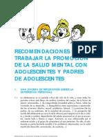 Salud Mental, Su Promocion en Adolescentes y Padres