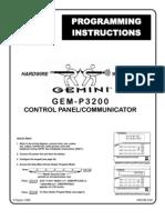 Napco Gem-p3200 Programing Instructions