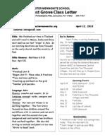 Newsletter 4-12-13