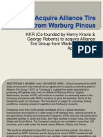 KKR (Co-founded by Henry Kravis & George R Roberts) to acquire Alliance Tire Group from Warburg Pincus
