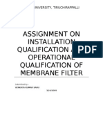 Assignment on Installation Qualification and Operational Qualification of Membrane Filter