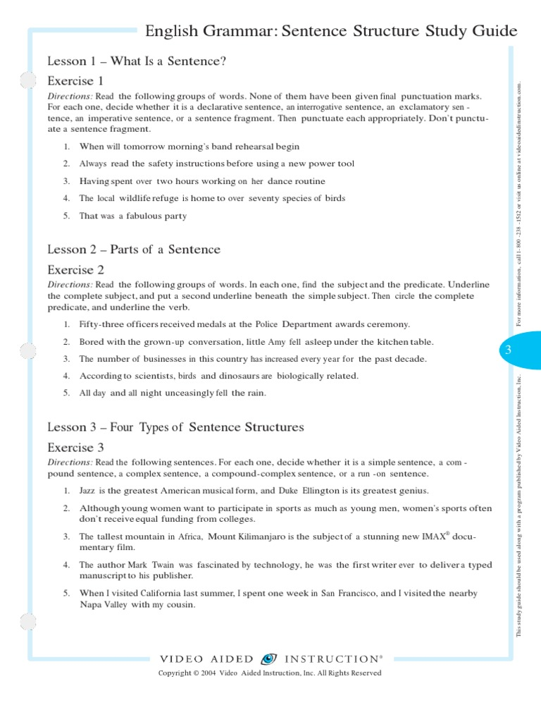 The Sentence Structure Study GuideComplete | Part Of Speech