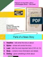 News- News Lead / Intro -News Editing Techniques- Lead