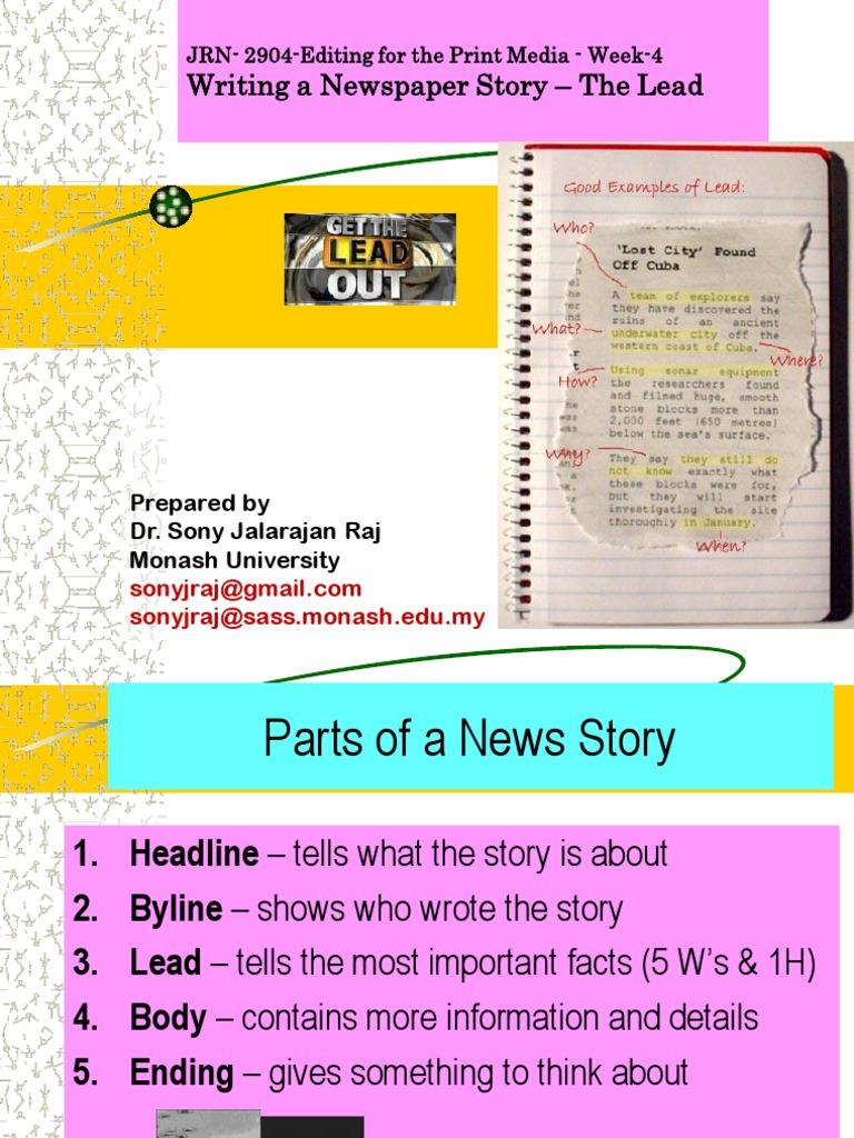 News - News Lead / Intro - News Editing Techniques - Lead