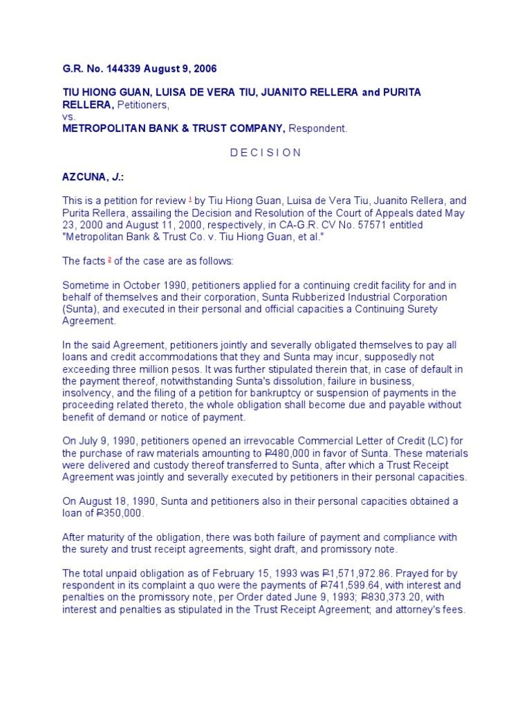 Tiu Hiong Guan Et Al Vs Metropolitan Bank Trust Coc