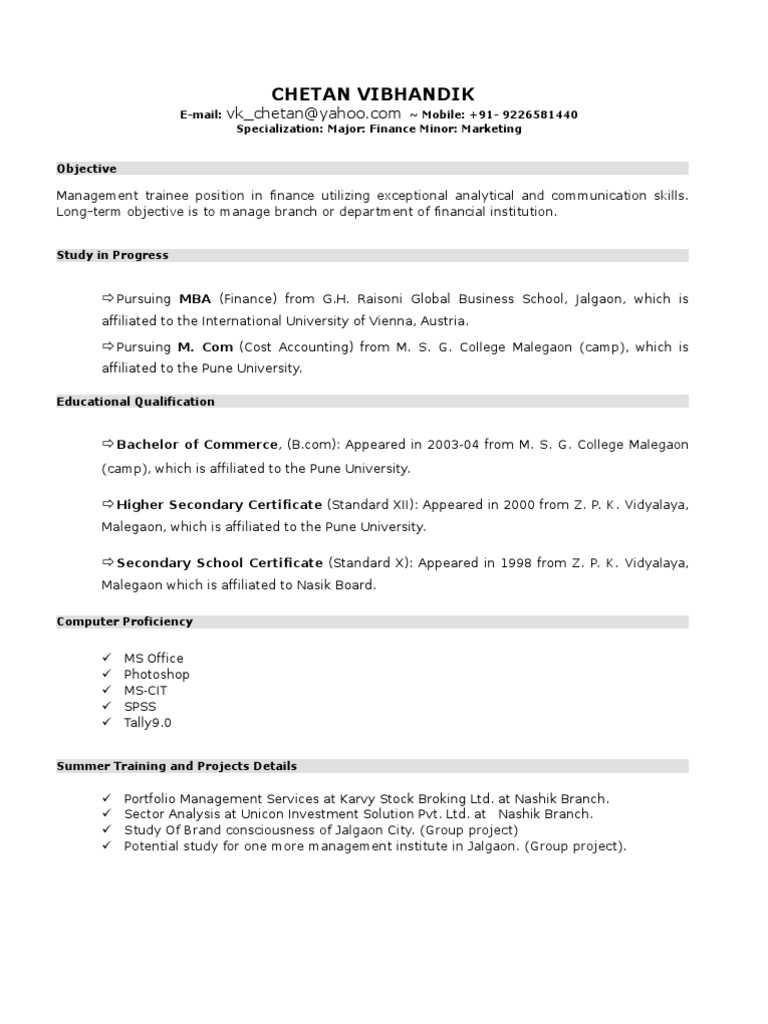 New Resume Format For Mba Student By Chetan Vibhandik Economies