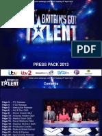 ITV Britains Got Talent Press Pack 2013