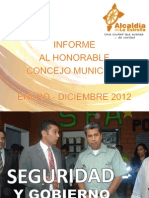 INFORME AL HONORABLE CONCEJO MUNICIPAL