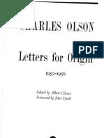 Charles Olson Letters for Origin 1950-1956 1988