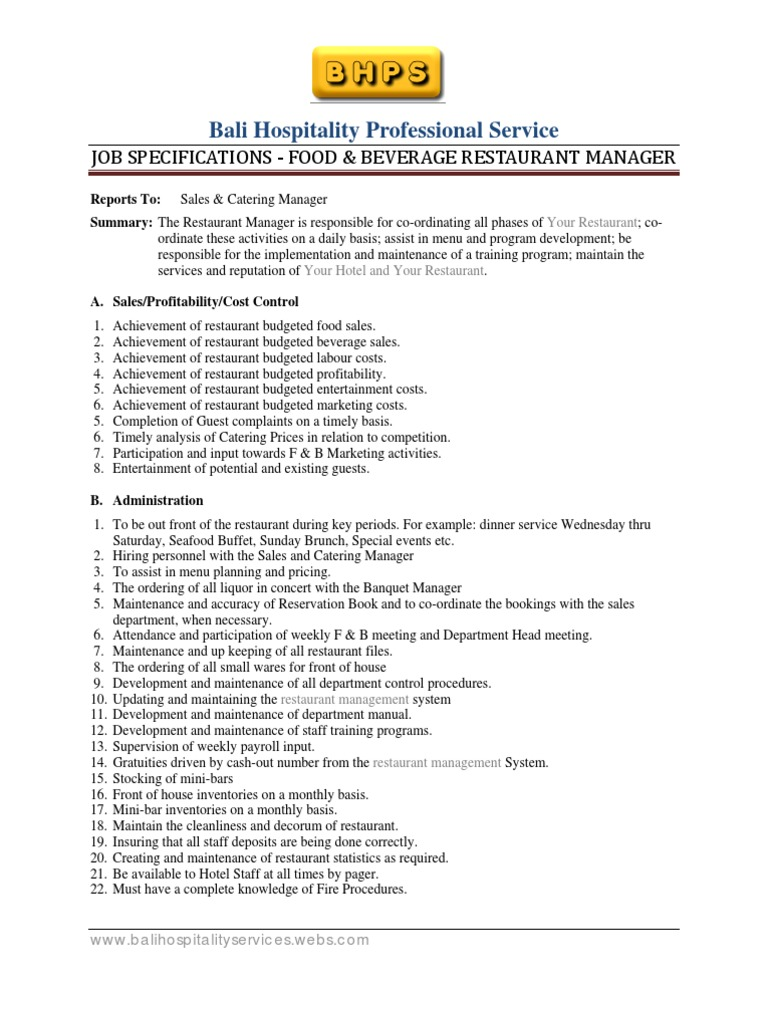 F&B Restaurant Manager Job Specification Template ...
