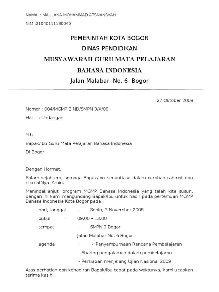 Contoh Surat Resmi Bahasa Indonesia