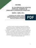 RESUMEN DE LOS PRINCIPALES CASOS DE REPRESIÓN DEL GOBIERNO DE VENEZUELA A GRUPOS ESTUDIANTILES